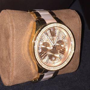 Michael Kors bling rhinestone rosegold watch